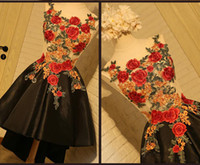 Wholesale Kids Evening Gown Photo - 2017 New Short Floral Kids Prom Dresses Black Lace up Back Flowers Embroidery african A-Line Sleeveless Jewel Evening Party Gowns Plus Size