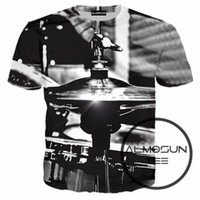 Wholesale Wholesalers Musical Instruments - Wholesale- ALMOSUN Musical Instruments Drums Cymbals 3D All Over Print T Shirts Short Sleeve Hipster Shirts Hip Hop Top Tee Boys Girls