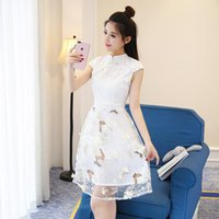 Wholesale Korean Sexy Dresses - 2017 summer fashion Korean style slim of empire skirt in cheongsam lace dress with short sleeves