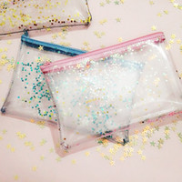 japan-patchwork-tasche groihandel-Bling Star Kosmetiktasche für Make-up wasserdicht Patchwork Transparent Make-up Pinsel Reisen waschen Fall PVC-Beutel Lucency Travel Kulturbeutel