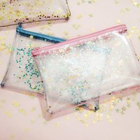 Borsa cosmetica di Bling Star per Make up Trasparente impermeabile Patchwork trasparente Make Up Spazzole Travel Bag Wash Custodia in PVC Bag Lucency Travel Toiletry Bag