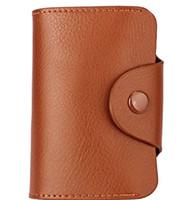 Wholesale Cheap Leather Shorts Women - Genuine leather Cards holder handbags Wallet for women men Organ 15 blocks Anti-RFID Button close 6 colors 2017 new hotsale cheap