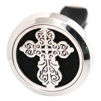 Wholesale Vintage Car Oil - Vintage Cross Anchor 30mm Aromatherapy Essential Oil surgical Stainless Steel Pendant Perfume Diffuser Car Lockets Include 50pcs Felt Pads