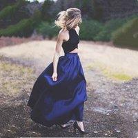 lacivert iki parçalı elbise toptan satış-2019 Yeni Arrvial Yeni Halter İki Adet Lacivert Tafta Gelinlik Modelleri Uzun Olma Mezuniyet Elbise