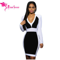 Wholesale Black Color Block Dress - Women Autumn Black White Color Block Long Sleeve Midi Dress LC22624 Sexy Winter V-neck Modern Fashion Bodycon Dresses 17410