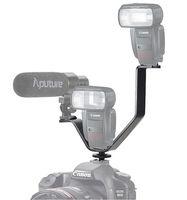 heißschuhmikrofon großhandel-Wholesale-Universal 164mm V-Form Triple Mount Blitzschuh Halterung für Mikrofon LED-Licht DSLR