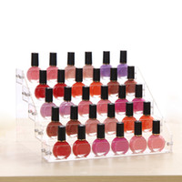 Wholesale shelf lipstick resale online - High end Clear Five Layers Nail Polish Rack Makeup Storage Organizer Lipstick Holder Cosmetic Tools Display Nail Polish Shelf