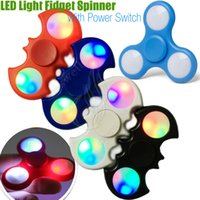 Wholesale Fidget Plush - LED Light Fidget Spinner Toy EDC Hand Spinners With Switch Triangle Plastic Finger Tip Decompression Novelty Rollover Plush Toys DHL
