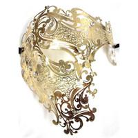 siyah metal kafatasları toptan satış-Toptan-Siyah Gümüş Yarım Yüz Kafatası Erkekler Kadınlar Phantom Evil Venedik Metal Lazer Kesim Parti Maskesi Altın Kırmızı Rhinestone Balo Masquerade Maskesi