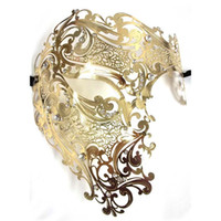 маски для лица металлические оптовых-Wholesale- Black Silver Half Face Skull Men Women Phantom Evil Venetian Metal Laser Cut Party Mask Gold Red Rhinestone Prom Masquerade Mask
