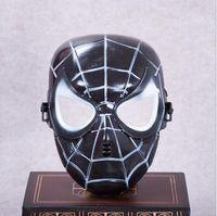 máscaras de superhéroes negros al por mayor-Christmas Popular Spiderman Mask Red Black Spiderman Superhero Kids Mask Masquerady Halloween Cosplay Máscaras Fiesta Adultos