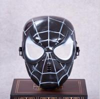 ingrosso mascherine supereroe nere-Maschera di Natale Spiderman popolare rosso Nero Spiderman Supereroe Maschera per bambini Masquerady Halloween Cosplay Maschere per adulti