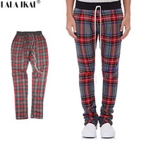 Wholesale Fashion Scotland - Wholesale- Fear of God Scotland Plaid Pant Unisex High Street Side Zipper Pant FOG Elastic Waist Skinny Pants KMN0161-4