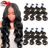 Wholesale Micro Wave Hair Extensions - Beautiful Micro mini Braiding Bulk Hair Body Wave Human Hair Bulk No Weft 3 pcs lot 100% Brazilian Hair Extensions