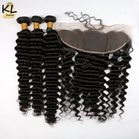 Wholesale 7A Deep Wave x4 Ear to Ear Lace Frontal Closure With Bundles Human Brazilian Virgin Hair Bundle With Lace Top Frontal Closure