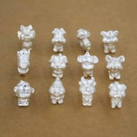 Wholesale Loose Bead Sets - 12pcs Set S999 Sterling Silver Chinese Zodiac Design Loose Beads Ball Plunger For DIY Handmade Bracelet Jewelry Accessories