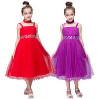 Wholesale Satin Chiffon Dress Baby - Summer Baby Girls Lolita Style Ball Gown Dresses Kids Rhinestone Bowknot Party Wedding Tulle Sleeveless Strap Dress
