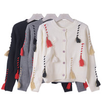 Wholesale Korean Ladies Winter Top - Wholesale- Korean Winter Clothes 2016 Warm Women Knitted Cardigans Long Sleeve Tassel Jumper Tops Autumn Ladies Woman Knitting Sweaters