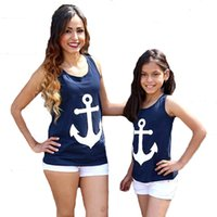 Wholesale Mother Daughter T Shirts - Mother Daughter Clothes T Shirt 2017 Summer Navy Anchor Matching Family Shirts Cute Bow Suspender Family Look Mother SonDaughter Outfits
