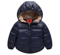 Wholesale Baby Boys Snowsuit - 2017 Winter Boys Outerwear Solid Cotton Girl Coat Newborn Baby Snowsuit Infant Overcoat Children Winter-Clothing Kids Jacket