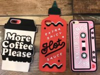 Wholesale Silicone Cassette Iphone Case - Silicone case Cassette 3D spicy bottle more coffe please cup Case silicon Cover For Apple iPhone 7 7 Plus 6 6plus Case