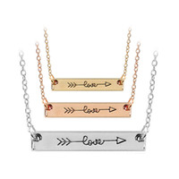Wholesale tiny love wholesale - Cupid Love Arrow Tiny Horizontal Bar Necklaces with silver rose gold Chain for Women Lovers Fashion Jewelry 162226