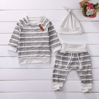 Wholesale Long Sleeve Set Kids - 2017 New Baby Clothes Sets Grey White Long Sleeve Striped Infant Kids Clothing Set + Hat for Baby & Kids Clothing