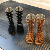 kız tüpleri toptan satış-2017 Yeni Bebek Retro Yay Roma sandalet kauçuk alt Tall tüp sandalet Kız moda Burnu açık ayakkabı C2236
