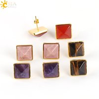 CSJA Gold Square Diamond Cutting Gemstone Stud Pendientes de la joyería para mujeres Anniversary Birthday Engagement Wedding Party regalo de Navidad E595