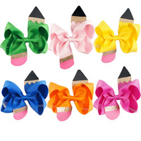 "Wholesale multi ribbon hair bow - 18 Pcs lot 4.5"" Solid Ribbon Bow For School Girls Hair Bows With Ribbon Covered Clips Pencil Hair Accessories Hairbows"