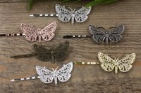Wholesale Antique Tray Butterfly - Antique Bronze Gold Silver Black Barrettes Hair Bobby Pin clips with Butterfly Tray,DIY Jewelry Finding Accessories 100pcs