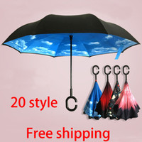haken regenschirme großhandel-Kostenloser Versand Inverted Umbrella Doppelschicht Inverted Umbrella Reverse Rainy Sunny Umbrella mit C Haken HandleSelf Special Design WX-U02
