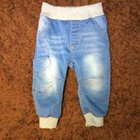 Wholesale Kids Denim Pockets Style - Spring Baby Boy Jeans Elastic Waist Solid Big Pocket Denim Fashion Soft Children Kids Jeans Pants