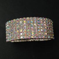 Wholesale Seven Gold Bracelets - 6 pieces Lot Seven Rows Crystal Rhinestone Bracelets Elastic Bridal Bangle Bracelet Stretch Wedding Jewelry Accessories for Women