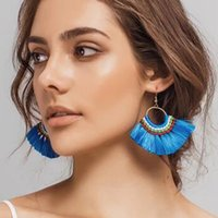 Wholesale Large Tin Decoration - 2017 Women's Boho Dangle Earrings Large Hoop Tassel Decoration with Stone Native Sector Handmade Ear Drop Jewelry Gifts