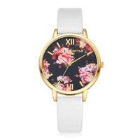 Wholesale Gilded Watch - Retail Peony pattern Chinese Style Watch Gilt Casual Leather Clock Digital Quartz Women Dress Cartoon Wristwatch Wholesale Free Shipping