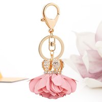 Wholesale crown keyrings - 2017 New Cloth Art Flower Crown Metal Keychain Keyring Car Keychains Purse Charms Handbag Pendant Best Gift