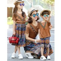 Wholesale Shirts Match Skirts - Bohemia Family matching clothing mom daughter son dresses sets T shirt +skirt + shorts pants tassels Print suit mother and son clothes A560