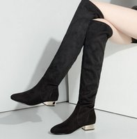 New Arrival Hot Sale Specials Afluxo Sweet Girl Sexy Spike Suede Black Thin Leg Stretch Straight Elastic Stovepipe Knee Boots EU34-43