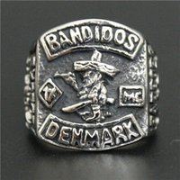 Wholesale China Clubs - MC Club Bandidos Ring 316L Stainless Steel Jewelry Cool Design Mens 1% Motor Biker Ring