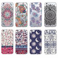 Wholesale Iphone Tribal 5c - Boho Indian Floral Lotus Elephant Paisley Tribal Soft Phone Case Coque Fundas For iPhone 7 7Plus 6 6S 6Plus 5 5S SE 5C