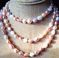 """Wholesale Long Baroque Freshwater Pearl Necklace - NEW long 42 """"7-9mm baroque multicolor freshwater pearl necklace AAA"""