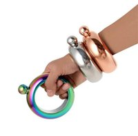 Wholesale 3 oz Bangle Bracelet Stainless Steel Jug Bracelet Liquid Alcohol Hip Flasks Funnel Bangle Bracelet Gold Silver Rainbow
