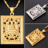 Wholesale palace hot - U7 New Hot Square Islam Necklace with Arabia Palace Gold Platinum Plated Link Chain for Women Ethnic Pendant Perfect Accessories P2433