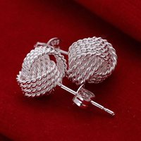 Wholesale flower plants for sale - E13 Hot sale XMAS Wholesale fine 925 sterling silver round 1pc fashion jewelry,new piercing 925 silver wedding dangle earring for women