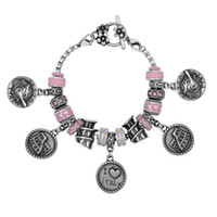 Wholesale Italy Flower Bracelet - Stainless Steel Mixed Beads Architecture Special I Love Italy Holland Paris London Pendent Pink Crystal Spot Drill Flower OT Clasp Bracelets