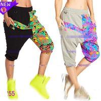 Wholesale Harem Capri Woman Pants - S M L women Pants Queen Of The Jungle Harem Capri Pants black grey