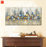 pintura da noite da vista da cidade venda por atacado-Night View New York City Skyline Pintura A Óleo Moderna Da Lona Cartazes Decorativos Para Sala de estar