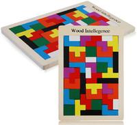 yapboz ahşap tangram toptan satış-Sıcak! Çocuk Ahşap Bulmaca Oyuncak Tangram Zeka Bulmaca Oyuncaklar Tetris Oyunu Eğitici Çocuk Jigsaw Kurulu Oyuncak Hediyeler