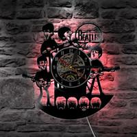 детские часы оптовых-The Beatles Music Nursery Art CD Clock Виниловая пластинка настенные часы силуэт светодиодный свет с пультом дистанционного управления